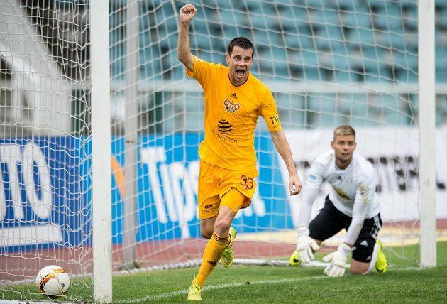 Ondřej Kušnír právě vstřelil proti Bohemians 1905 gól na 3:1.