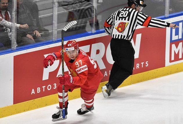 Čtvrtfinále mistrovství světa v hokeji, Rusko - USA, 23. května 2019 v Bratislavě. Ruský útočník Nikita Gusev se raduje z prvního gólu.