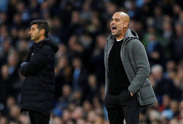 Manažer Manchesteru City Pep Guardiola během utkání Ligy mistrů.