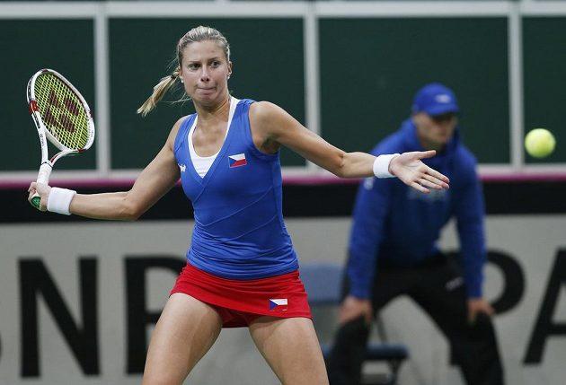 Česká tenistka Andrea Hlaváčková během závěrečné čtyřhry.