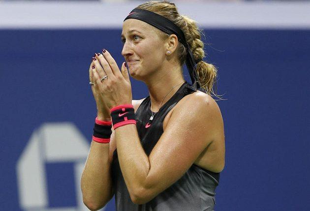 Šťastná Petra Kvitová pom postupu do čtvrtfinále US Open.