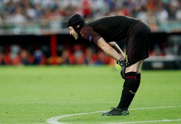 Brankář Arsenalu Petr Čech ve finále Evropské ligy.