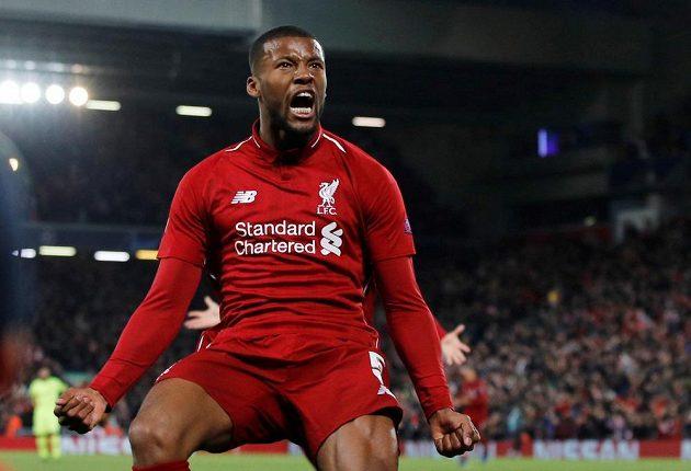 Liverpoolský Georginio Wijnaldum se raduje po třetím gólu svého týmu proti Barceloně.