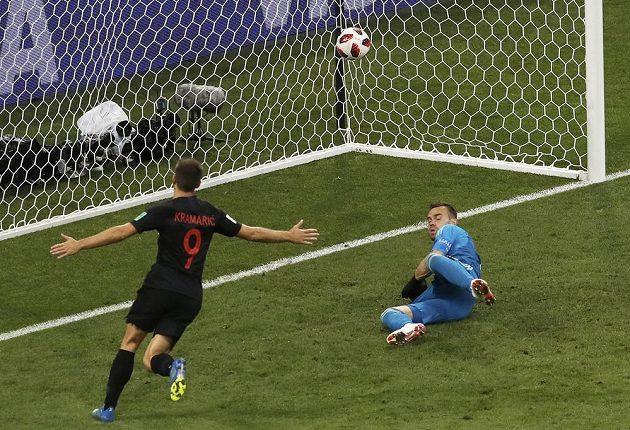Chorvatský útočník Andrej Kramarič překonává ruského brankáře Igora Akinfejeva.