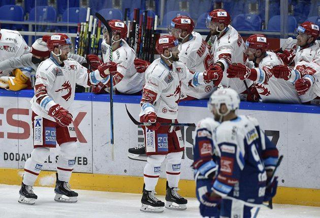 Radost hokejistů Třince.