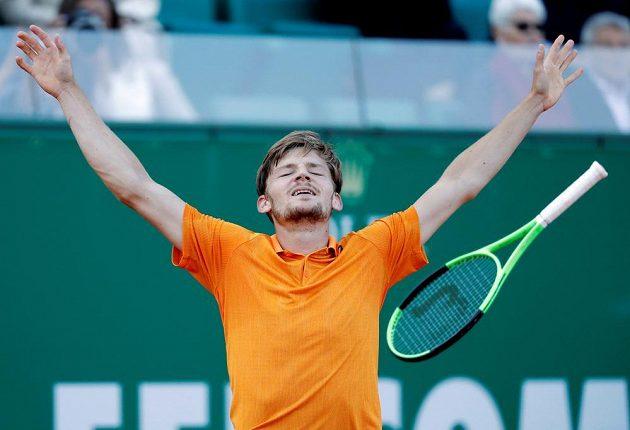 Belgický tenista David Goffin vyřadil na turnaji v Monte Carlu Srba Novaka Djokoviče a měl z toho obrovskou radost.