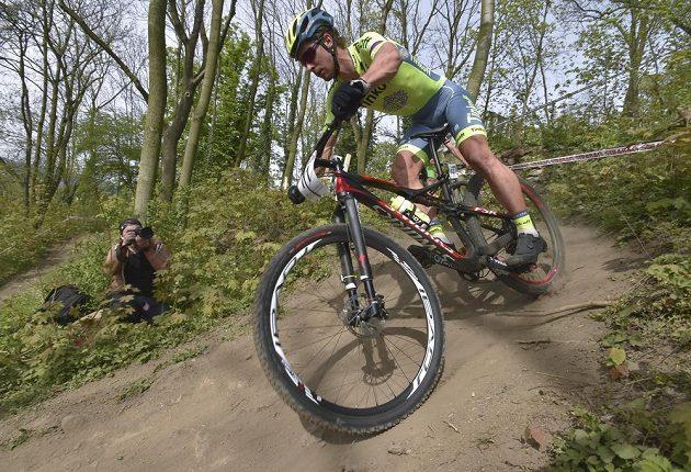Peter Sagan na trati závodu Českého poháru v cross country horských kol v Teplicích.