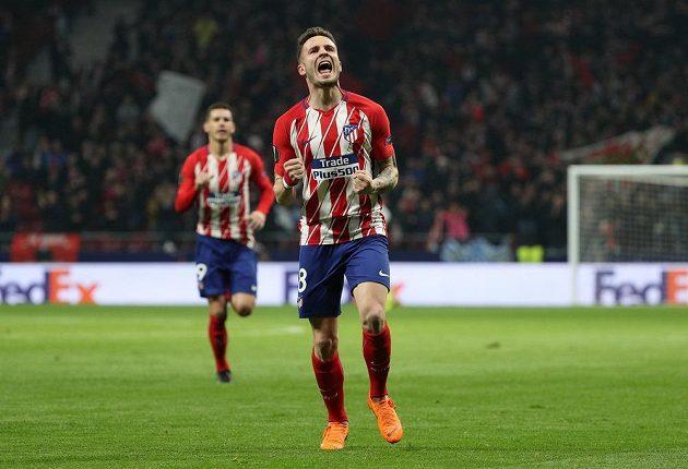 Samuel Niguez z Atlétika Madrid oslavuje první gól v utkání Evropské ligy s Lokomotivem Moskva.