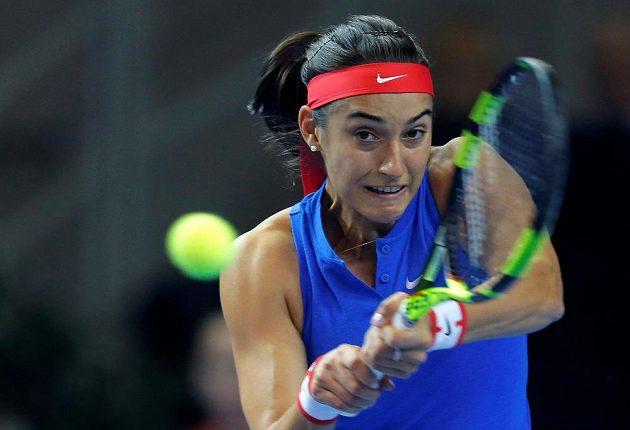 Caroline Garciaová při utkání s Petrou Kvitovou.
