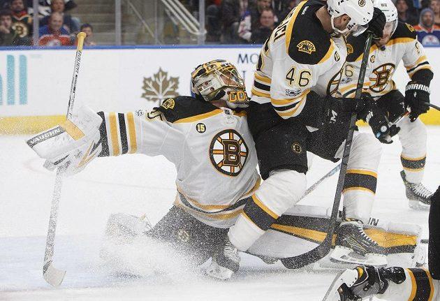 Útočník Bostonu Bruins David Krejčí (46) se snažil pomoci svému brankáři v utkání s Edmontonem v NHL.