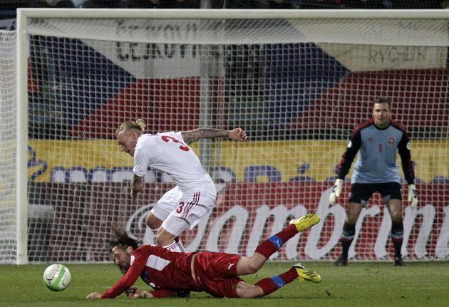 Stephan Andersen z Dánska bojuje o míč s Petrem Jiráčkem.