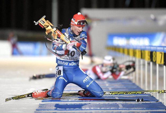 Ondřej Moravec si na střelnici během vytrvalostního závodu na 20 km vedl velmui dobře, z dvaceti terčů minul jediný.