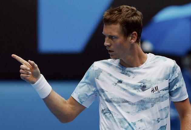 Reakce Tomáše Berdycha po vítězné výměně s Rafaelem Nadalem ve čtvrtfinále Australian Open.