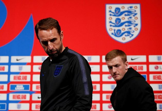 Gareth Southgate, trenér anglické fotbalové reprezentace, na tiskové konferenci.