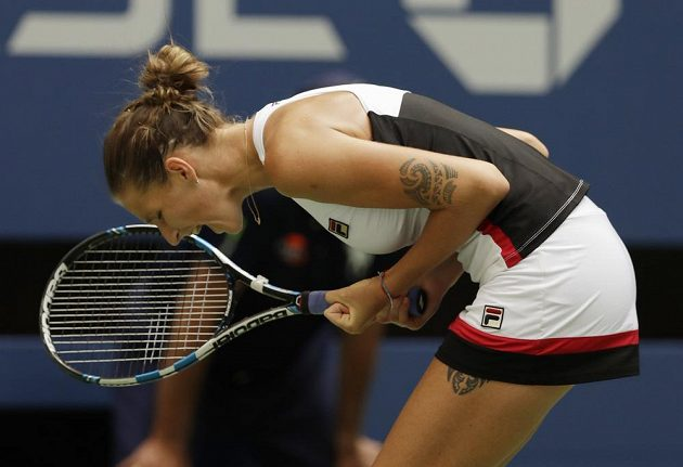 Karolína Plíšková se raduje z postupu do čtvrtfinále grandslamového US Open.