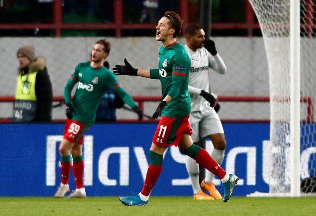 Předčasná radost fotbalistů Lokomotivu Moskva. Trefa v utkání Ligy mistrů s Leverkusenem nakonec neplatila.