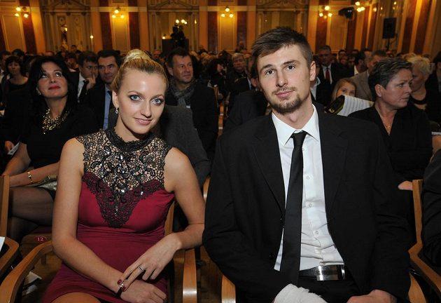 Tenistka Petra Kvitová na slavnostním vyhlášení ankety Zlatý kanár spolu s přítelem Radkem Meidlem.