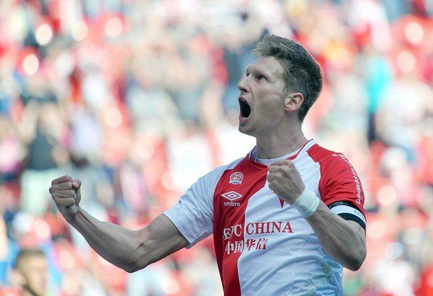Slávistický útočník Milan Škoda se raduje z gólu proti Slovácku.
