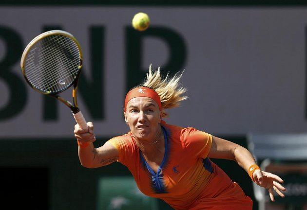 Světlana Kuzněcovová z Ruska během duelu 3. kola French Open proti Petře Kvitové.