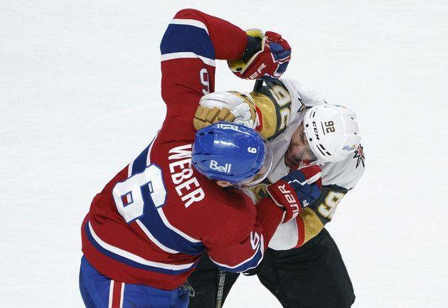 Český hokejista Tomáš Nosek v dresu Vegas Golden Knights se pustil v semifinále NHL do ostrého střetu. Jeho protivníkem byl Shea Weber z Montrealu Canadiens.