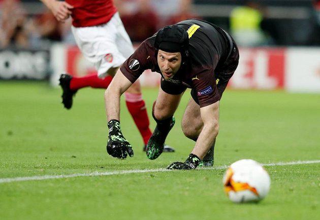 Brankář Arsenalu Petr Čech během finále Evropské ligy v Baku.