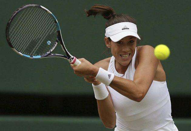 Španělská tenistka Muguruzaová během semifinálového utkání ve Wimbledonu.