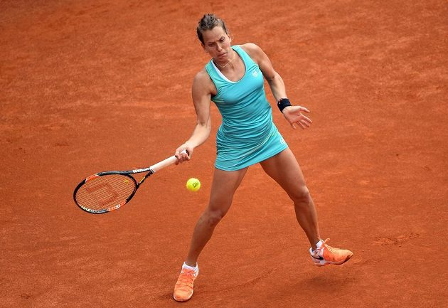 Česká tenistka Barbora Strýcová ve druhém kole turnaje v Praze.