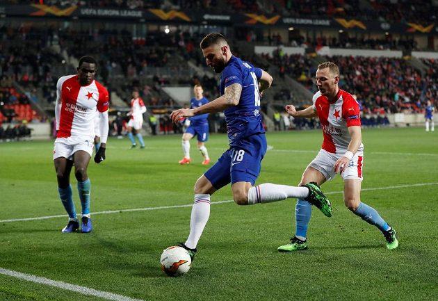 Olivier Giroud hledá cestu k brance Slavie