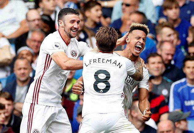 Euforie v podání fotbalistů Sheffield United během utkání s Chelsea.