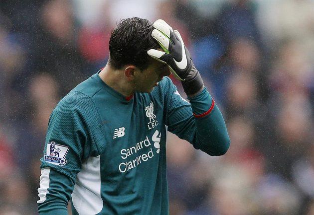 Zklamaný výraz brankáře Liverpoolu Dannyho Warda v zápase proti Swansea.