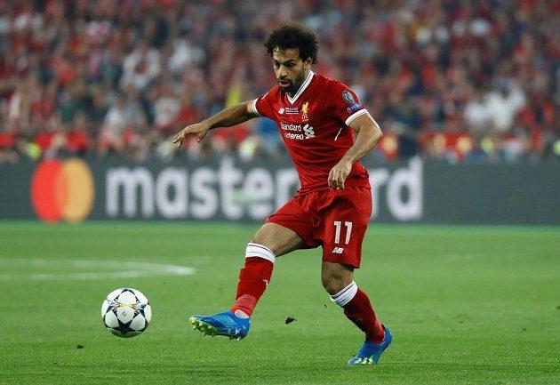 Liverpoolský Mohamed Salah v akci během finále Ligy mistrů.