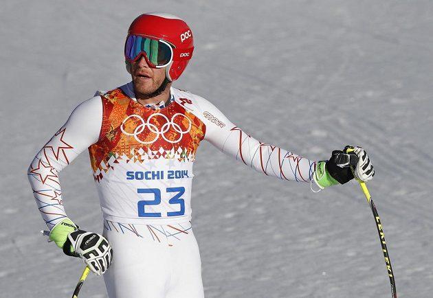 Americký lyžař Bode Miller během tréninku na sjezd do superkombinace v Soči.