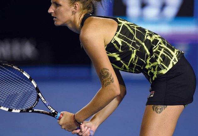 Česká tenistka Karolína Plíšková během utkání s Němkou Julií Görgesovou.