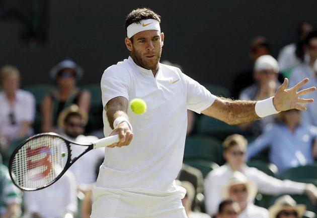 Argentinský tenista Juan Martin Del Potro ve čtvrtfinále Wimbledonu.