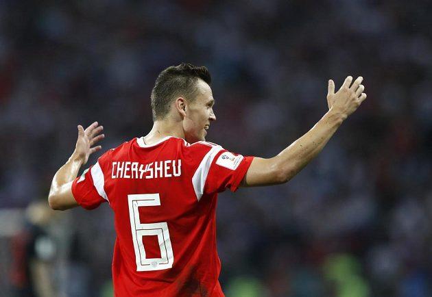 Střelec první ruské branky ve čtvrtfinále proti Chorvatsku Denis Čeryšev.