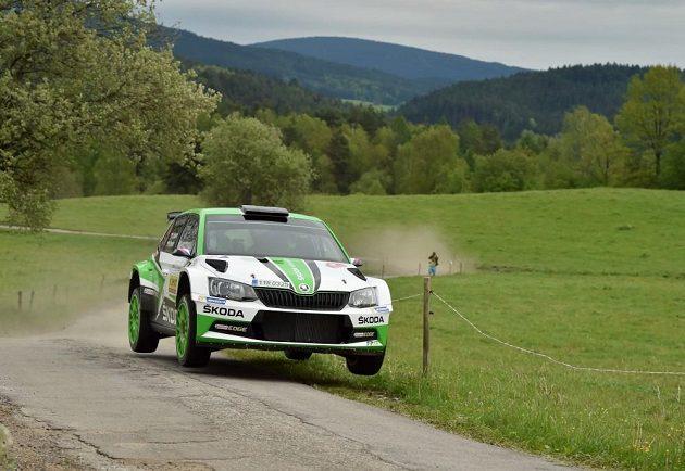 Jan Kopecký se Škodou Fabia R5 na trati Rallye Český Krumlov 2017.
