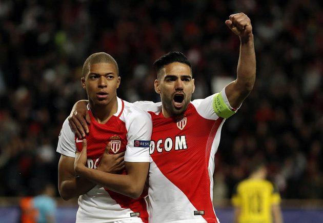 Monačtí hrdinové. Kylian Mbappé a Radamel Falcao vstřelili monacké branky v úvodu odvetného čtvrtfinále Ligy mistrů s Dortmundem.