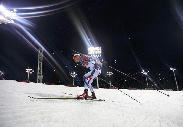 Ondřej Moravec při olympijské stíhačce, v níž vybojoval stříbro.