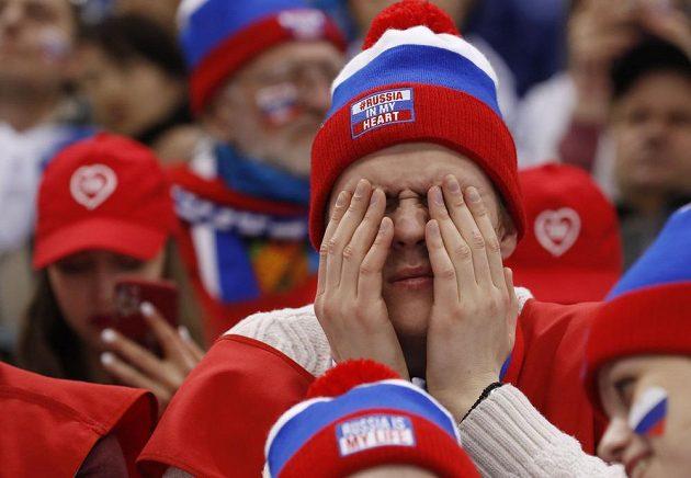 Ruský fanoušek si sice během duelu se Slovinskem zakrýval oči, ale tým OSR rychle vedl o dvě branky.