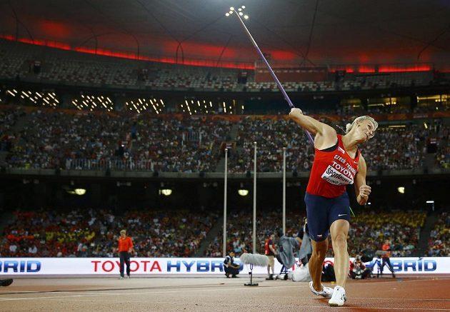 Česká oštěpařka Barbora Špotáková při závodě na mistrovství světa v atletice v Pekingu.