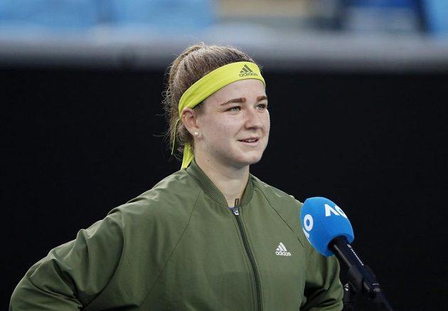 Karolína Muchová po vítězném osmifinále na Australian Open.
