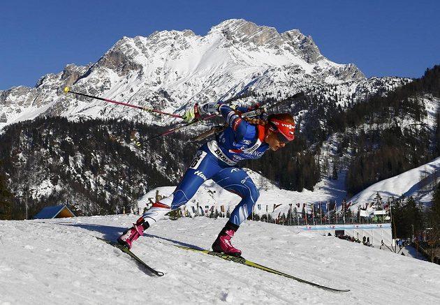Česká biatlonictka Gabriela Koukalová na trati sprintu na MS v Hochfilzenu.