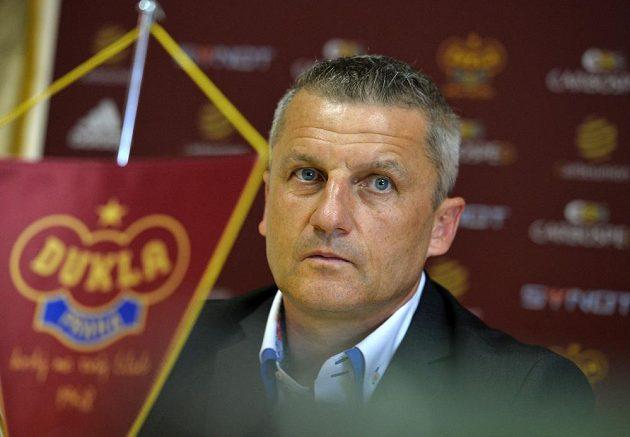 Generální ředitel fotbalového klubu Dukla Praha Michal Šrámek na úterní tiskové konferenci.