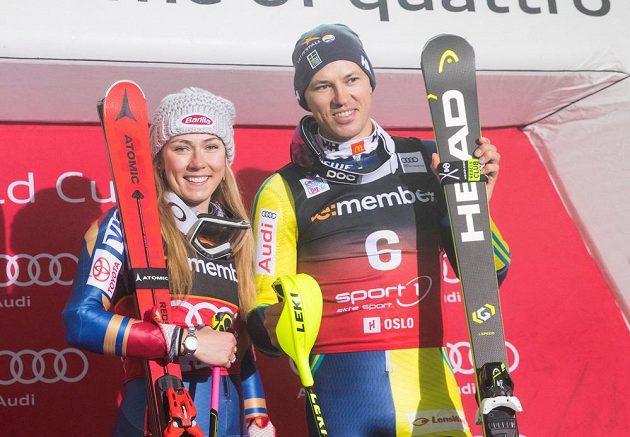 Mikaela Shiffrinová a Andre Myhrer po triumfu při SP v Oslu.