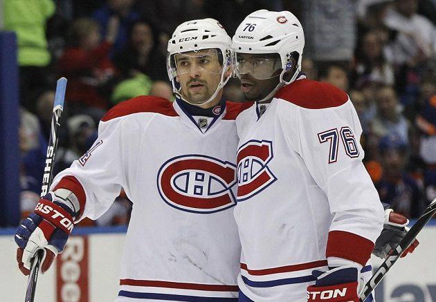 Útočníci Montrealu P.K. Subban (76) a Tomáš Plekanec slaví gól na ledě New Yorku Islanders.