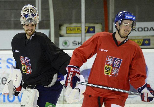 Brankář Alexander Salák a útočník Roman Červenka (vpravo) na tréninku české hokejové reprezentace.