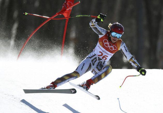 Ester Ledecká na trati superobřího slalomu, v němž získala naprosto nečekaně olympijské zlato!