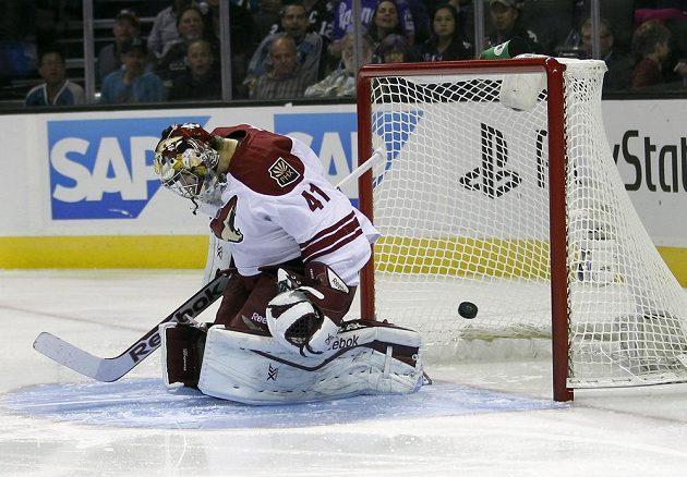 Puk za zády Smitha - takhle Tomáš Hertl dosáhl své první branky v NHL.