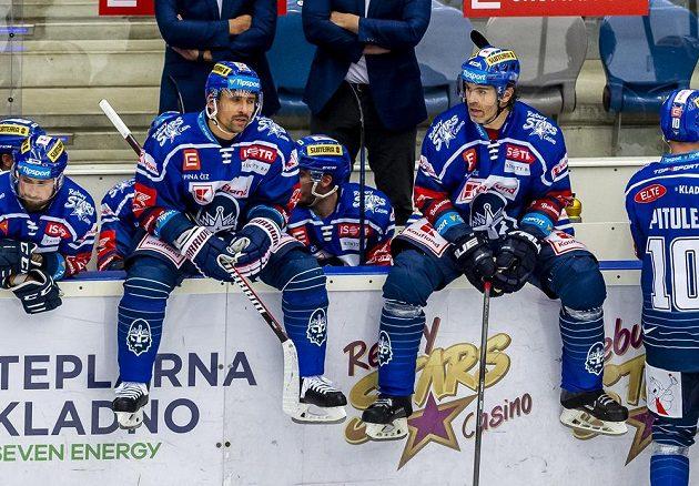 Zleva Tomáš Plekanec a Jaromír Jágr z Kladna během utkání s Brnem.