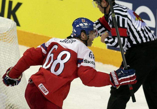 Jaromír Jágr poté, co proti Finům ve čtvrtfinále srovnal na 2:2.